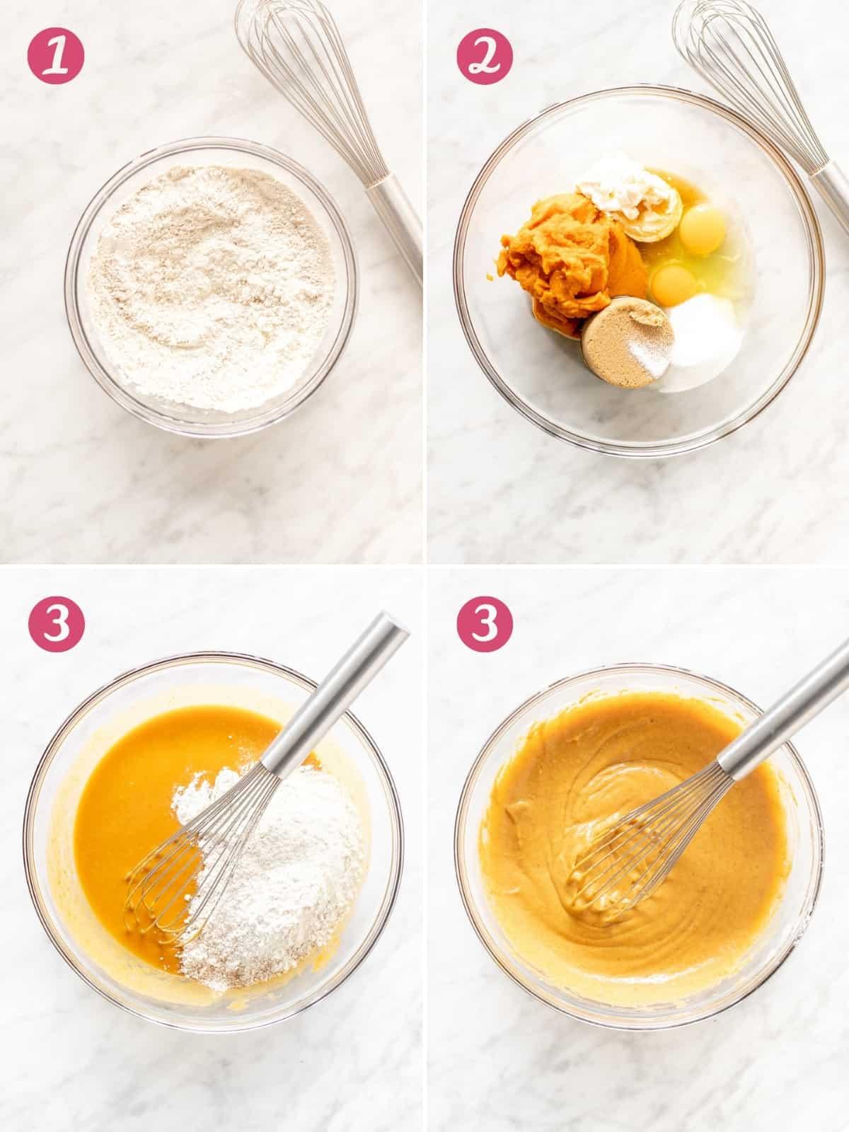 4 photos of making pumpkin muffin batter