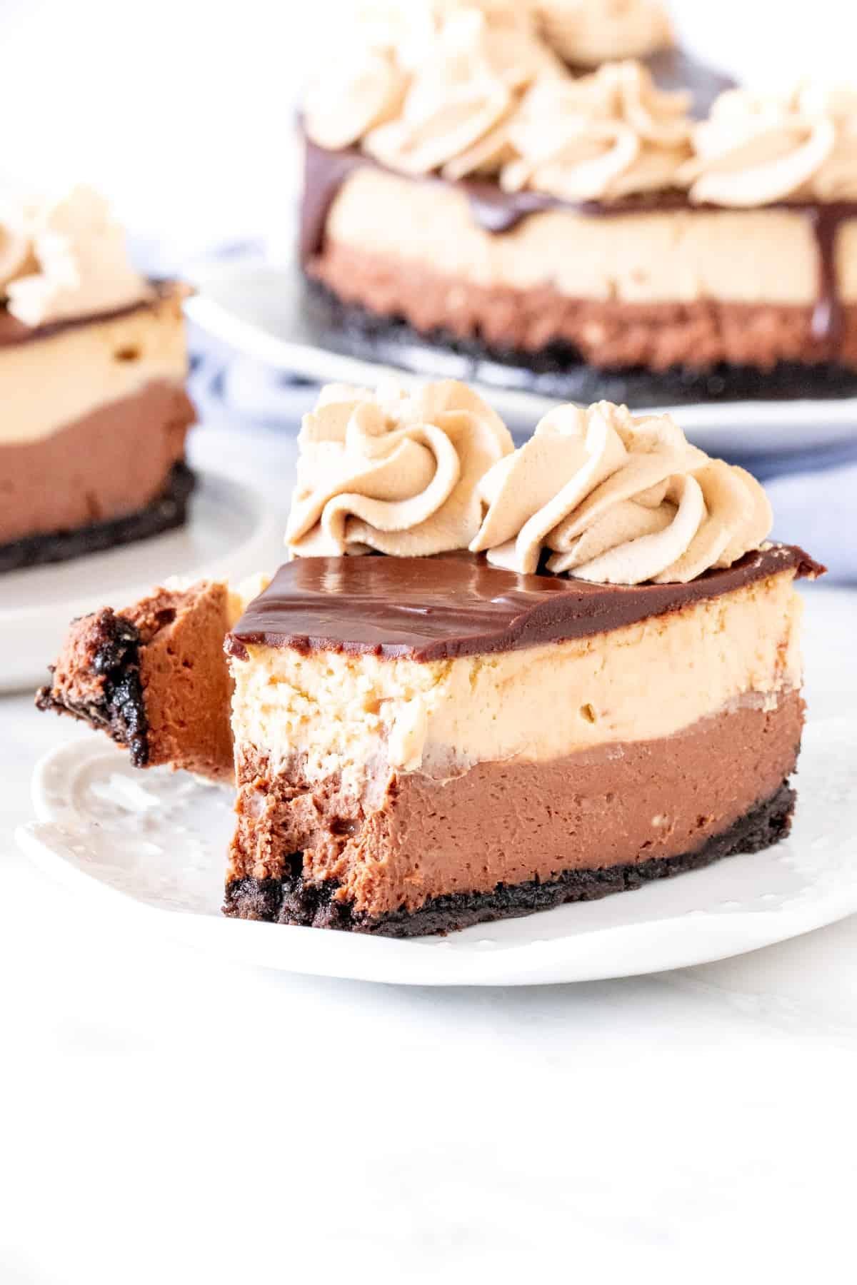 Slice of coffee and chocolate cheesecake