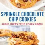 Collage of 2 photos of sprinkle chocolate chip cookies