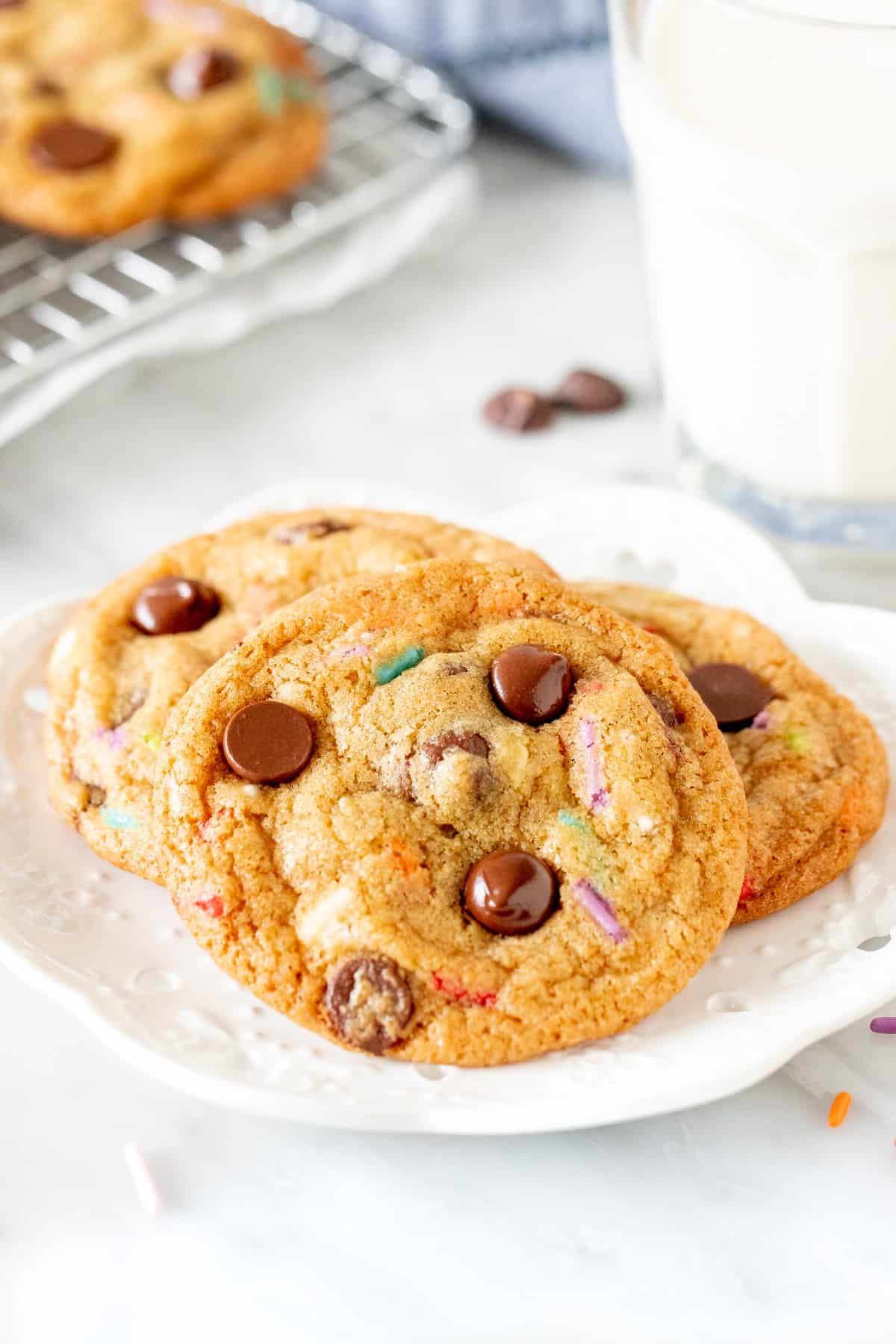 Plate of 3 sprinkle chocolate chip cookies