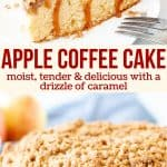 Collage of 2 photos of apple coffee cake
