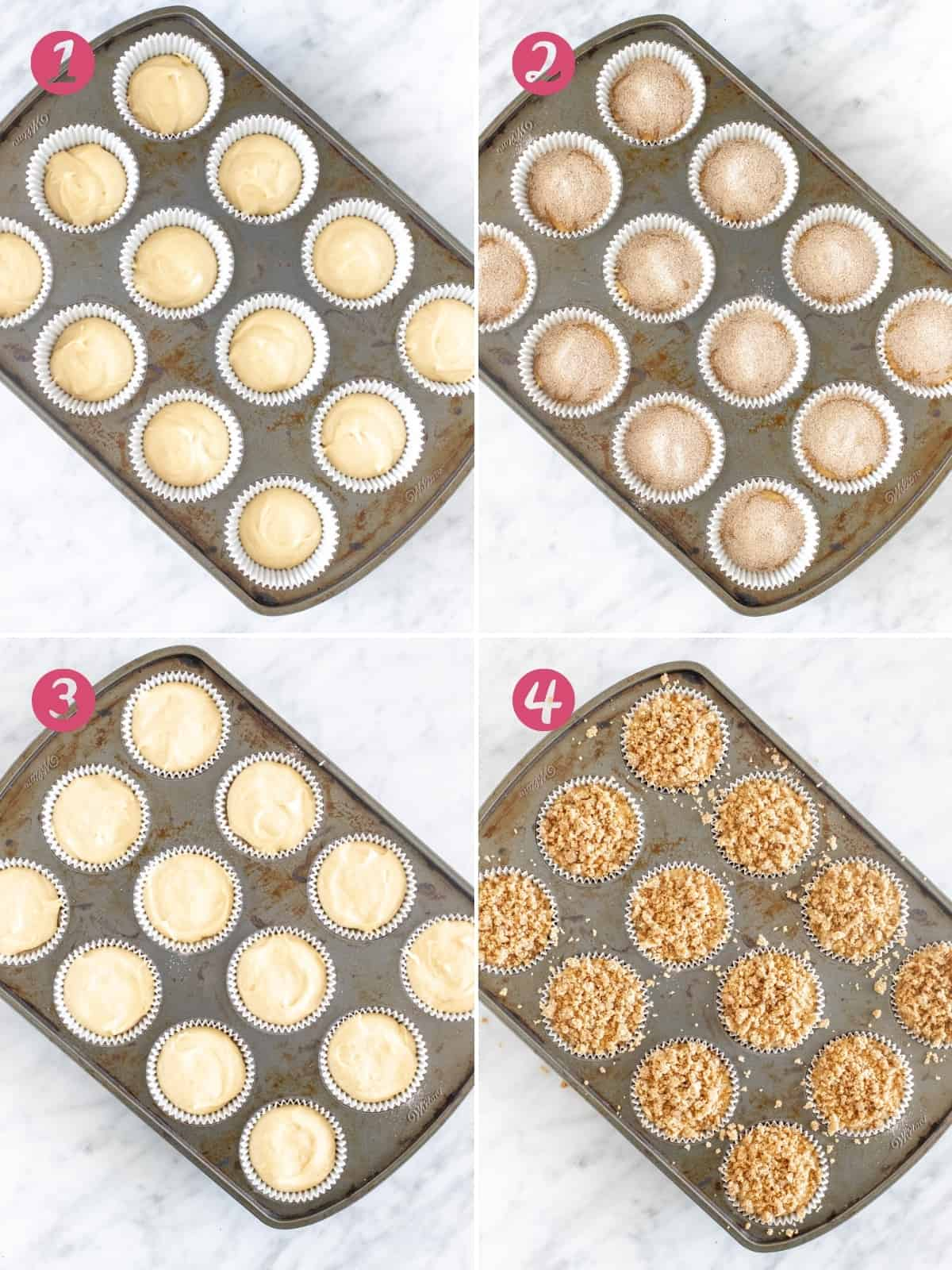 Collage of 4 photos - assembling coffee cake muffins