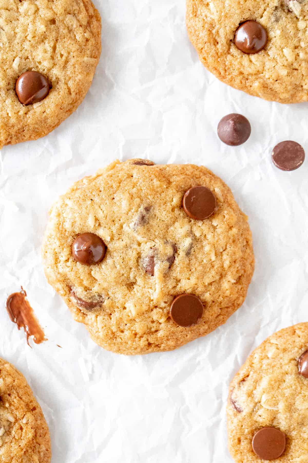 Coconut chocolate chip cookies on parchment paper