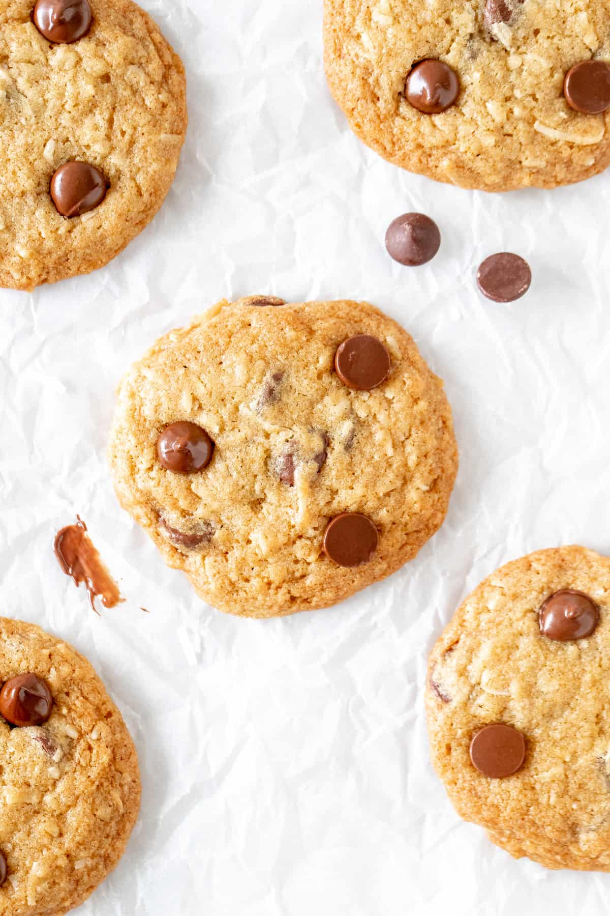 Chocolate chip cookies made with coconut