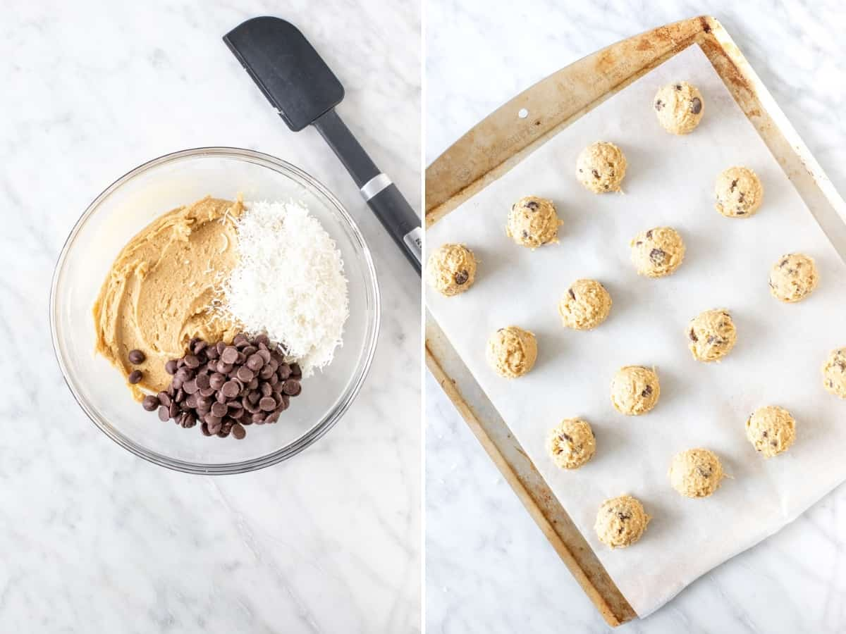 2 photos in a collage: bowl of cookie dough and cookie sheet with cookie dough balls