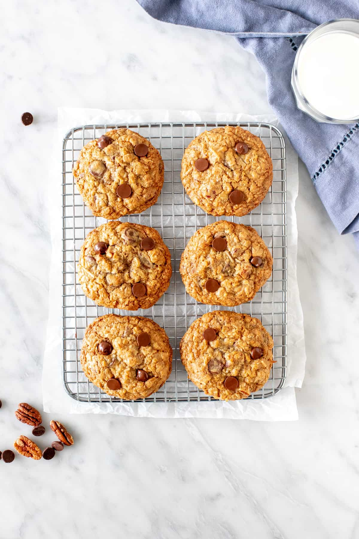 Big oatmeal chocolate chip cookies with pecans and coconut
