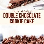 Collage of 2 photos of chocolate cookie cake