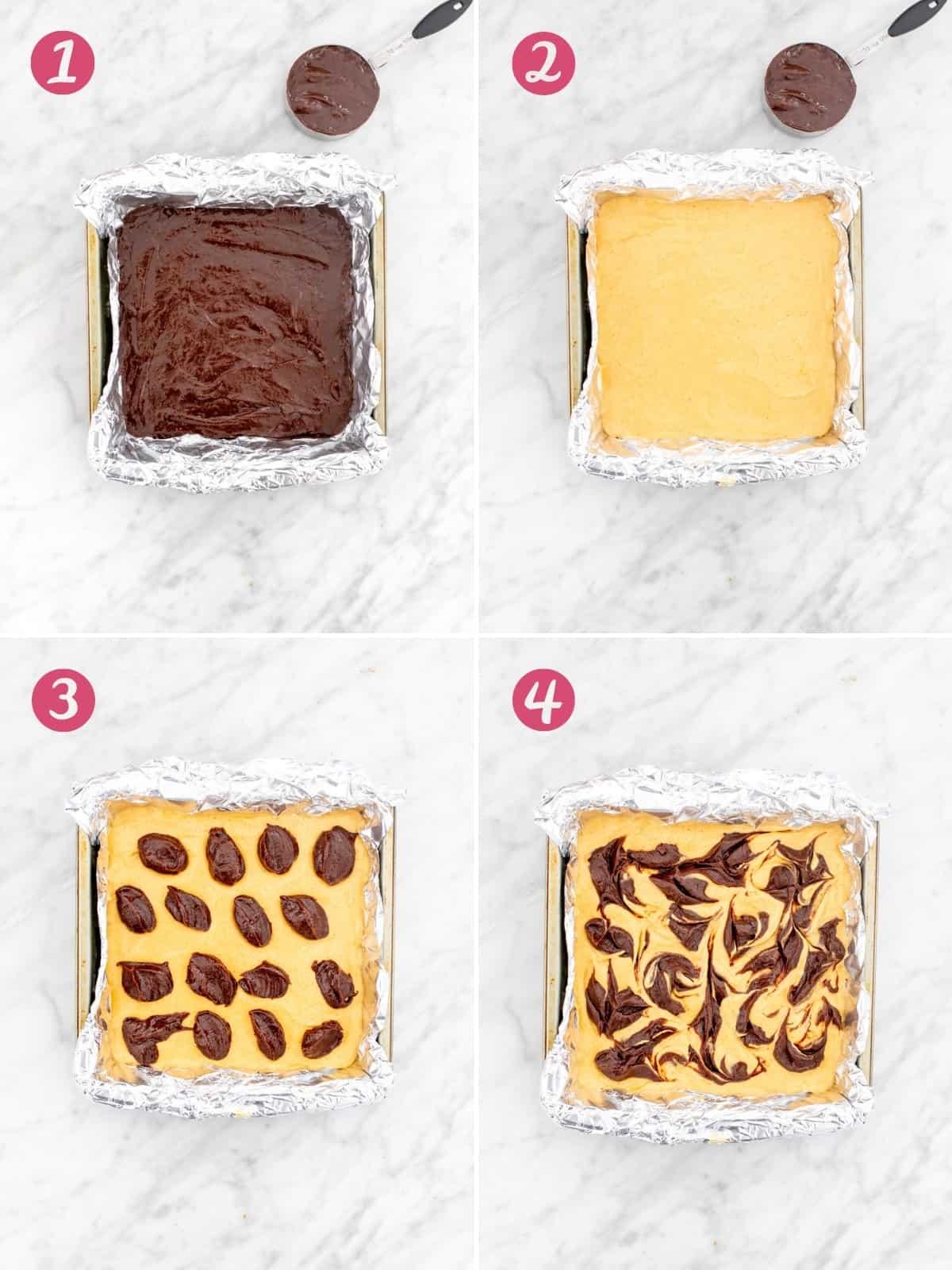Collage of 4 photos of assembling pumpkin swirl brownies