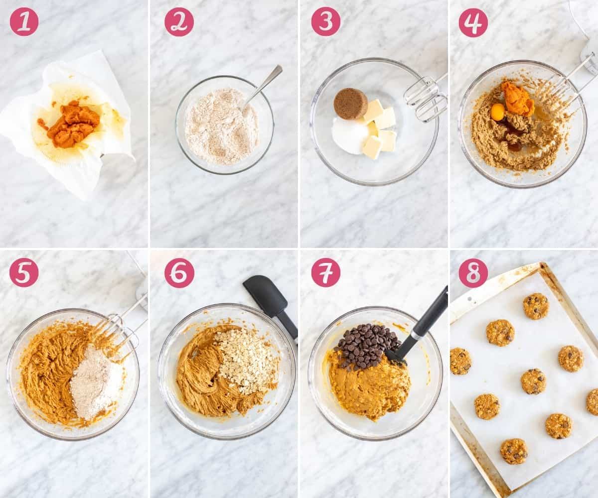 Collage of 8 photos of making cookies