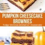 Collage of 2 photos of pumpkin brownies