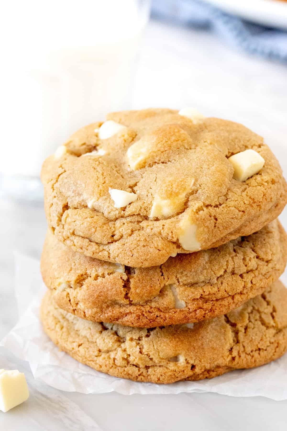 3 big levain-style white chocolate macadamia cookies