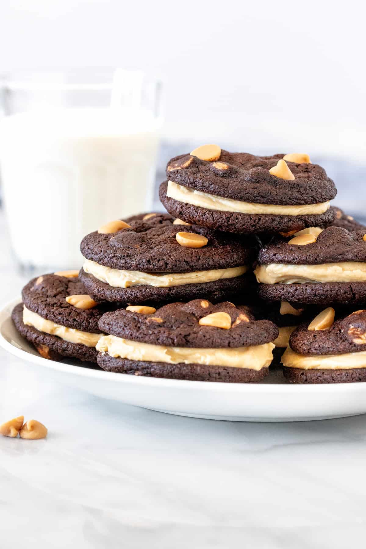 Plate of chocolate peanut butter sandwich cookies