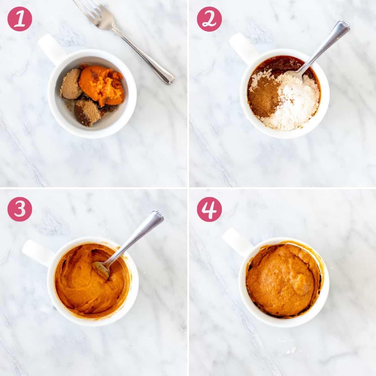 Collage of how to make a pumpkin mug cake