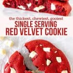 Collage of 2 photos of a single serving red velvet cookie