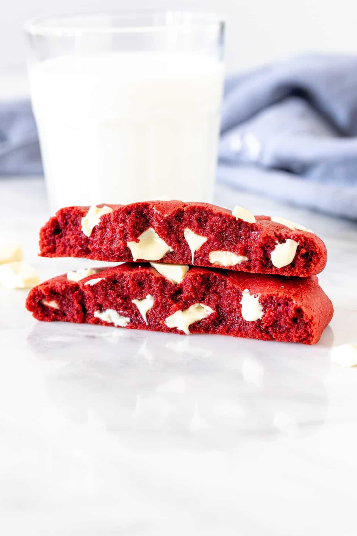 Red velvet cookie for one, broken in half
